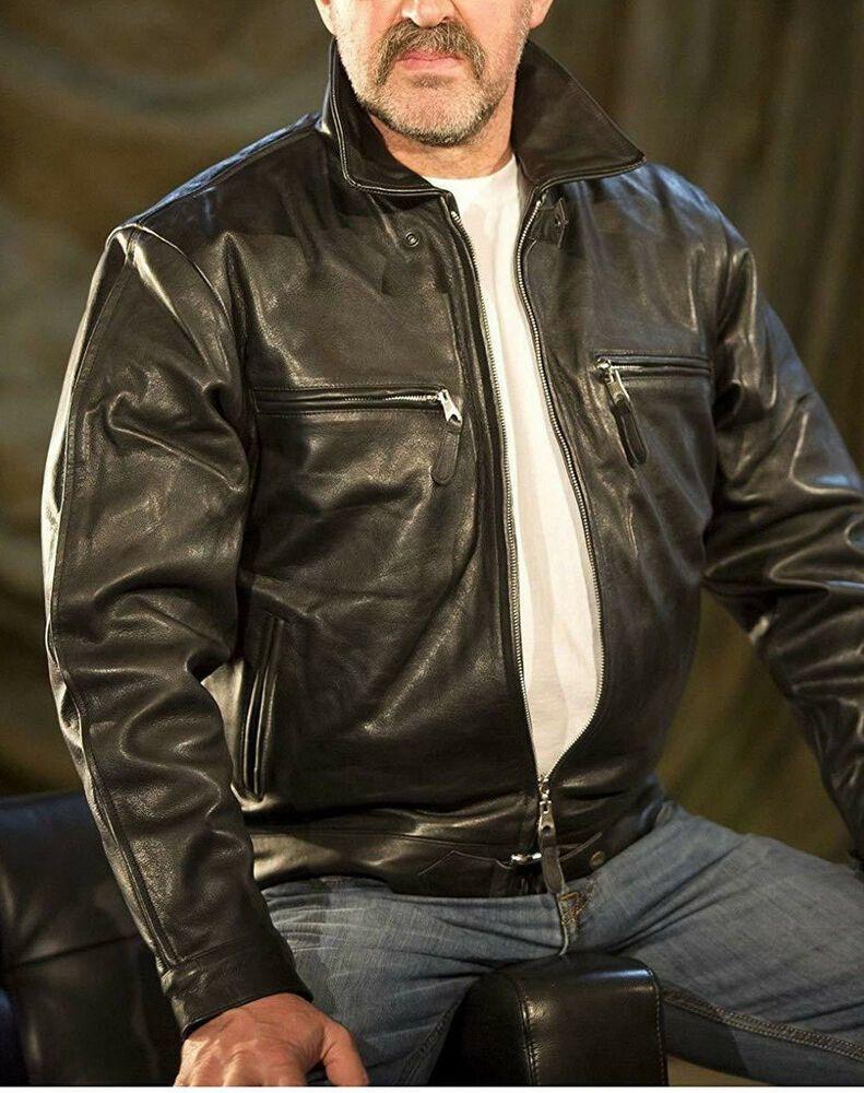 COOFANDY Mens Police Style PU Leather Motorcycle Zipper Biker Jacket