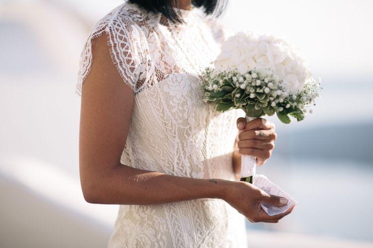 Hydrangeas & Babys Breath / Sarah & Adam Santorini Elopement / Photography by Cassandra Ladru / LANE / Wedding Style Inspiration