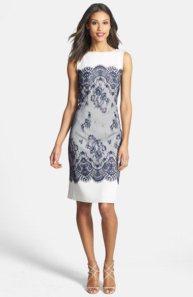 Tadashi Shoji Lace Overlay Sheath Dress Available At Nordstrom Mother Of Bride