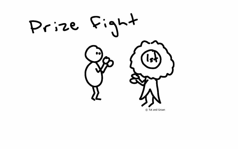 Tut and Groan | Wordplay-based single panel or gag cartoons painstakingly created by someone who can't draw - Prize Fight