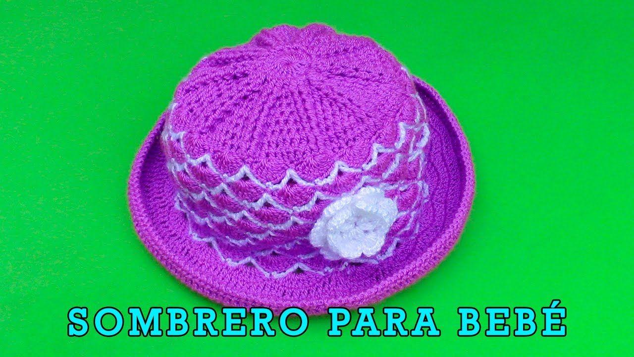 4036dedf75ffb Sombrero con flor para bebé de 5 meses tejido a crochet paso a paso en p.