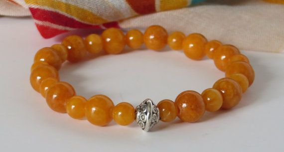 Orange Bead Bracelet / Yoga Bracelet / by BeadablesBracelets