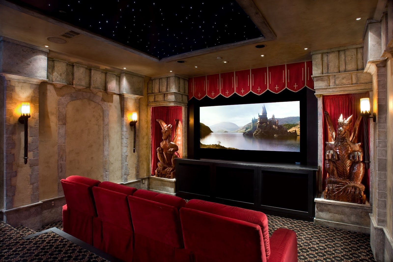 Gorgeous Archaic Style Home Theater Room Interior Design With Marble Wall  And Red Sofa Seat Also Awesome Dragon Sculpture Ornament And Fancy Ceiling  ...