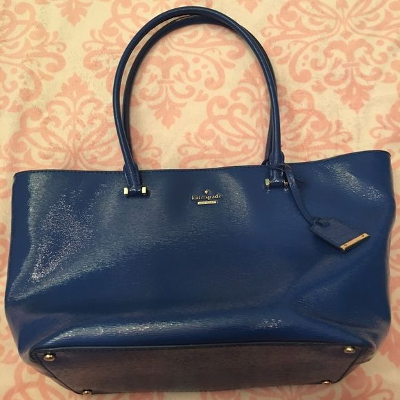 """Kate Spade """"Small Cedar Street Harmony"""" handbag This is an authentic Kate Spade small """"Cedar Street Harmony"""" handbag in royal blue gloss. It is in very good condition with only issue being wear on the inside of the handles - see photos. Inside is clean with no marks or rips. The blue is brilliant - pictures do not do it justice! kate spade Bags Totes"""