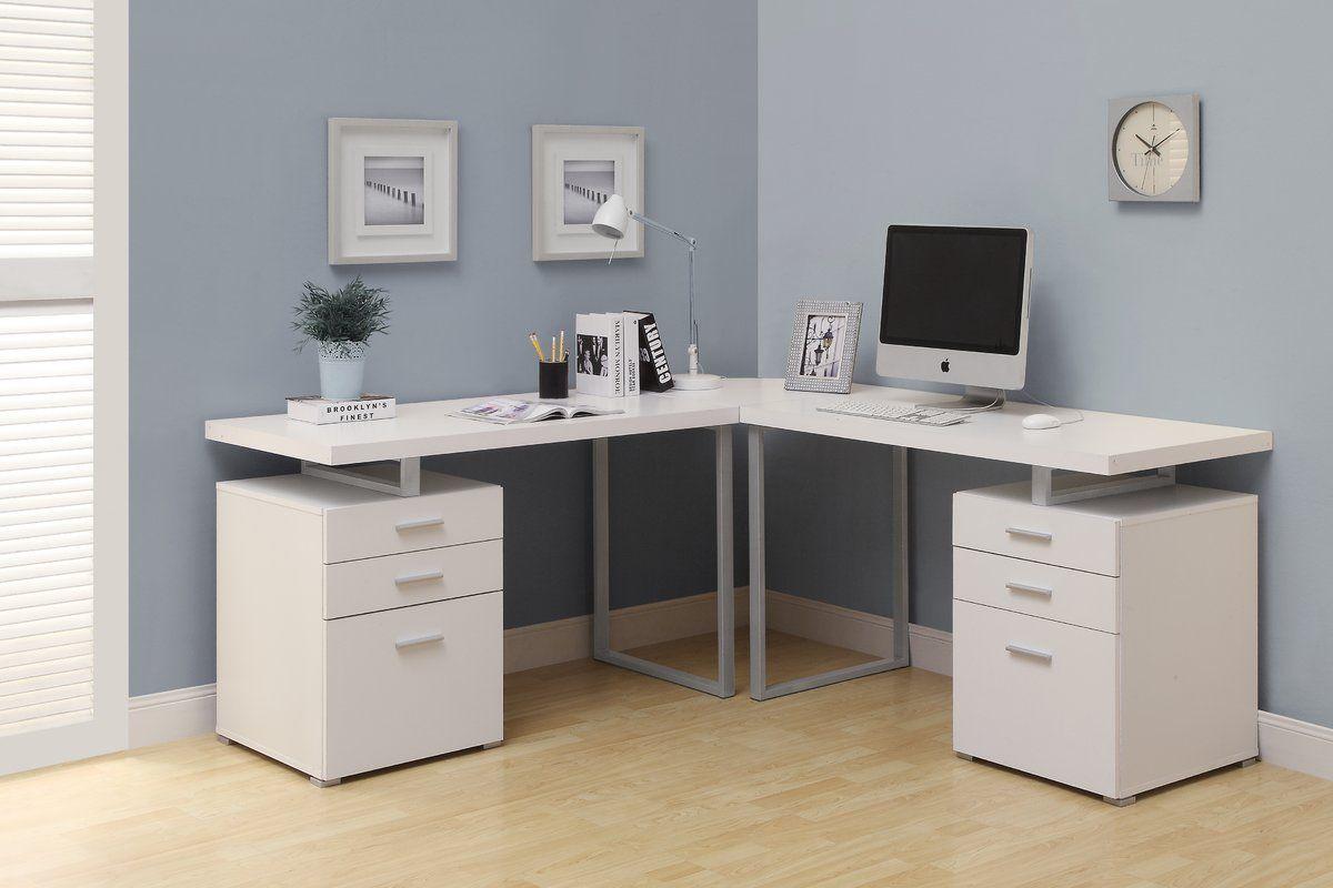 Wayfair Schmidtke L Shape Corner Desk White Home Office Design White Desk Office