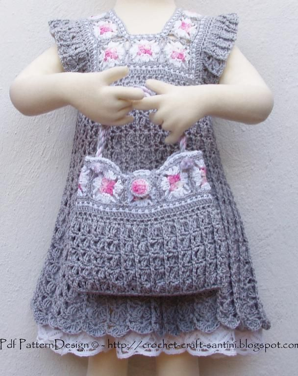 GREY GRANNY SQUARE BAG & DRESS