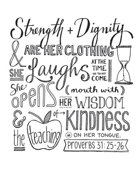 Proverbs 31:25-26 Hand Lettering Print by