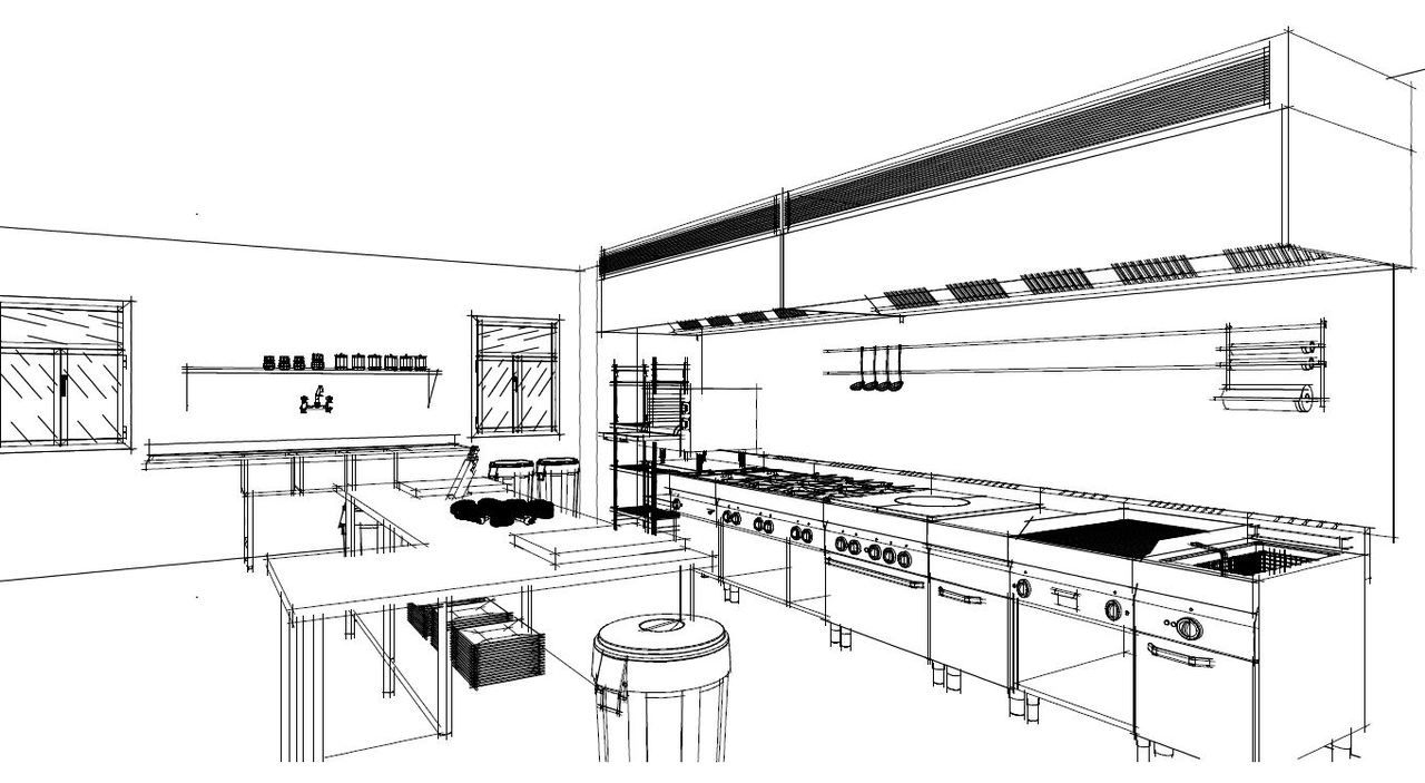 Detail Of A Commercial Kitchen, Sketched In Autokitchen 11