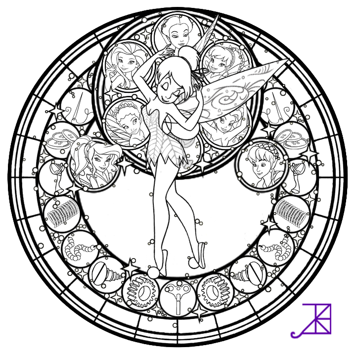 Disney Fairies Stained Glass line art by Akili Amethyst on