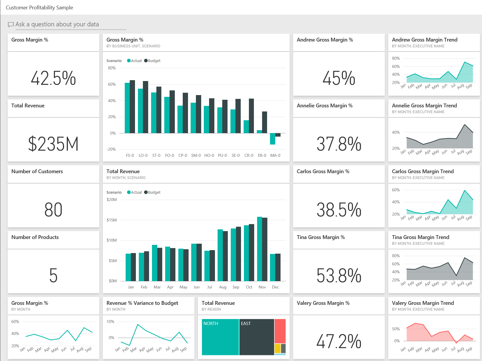 Customer Profitability Sample For Power BI Take A Tour Microsoft - Customer dashboard template