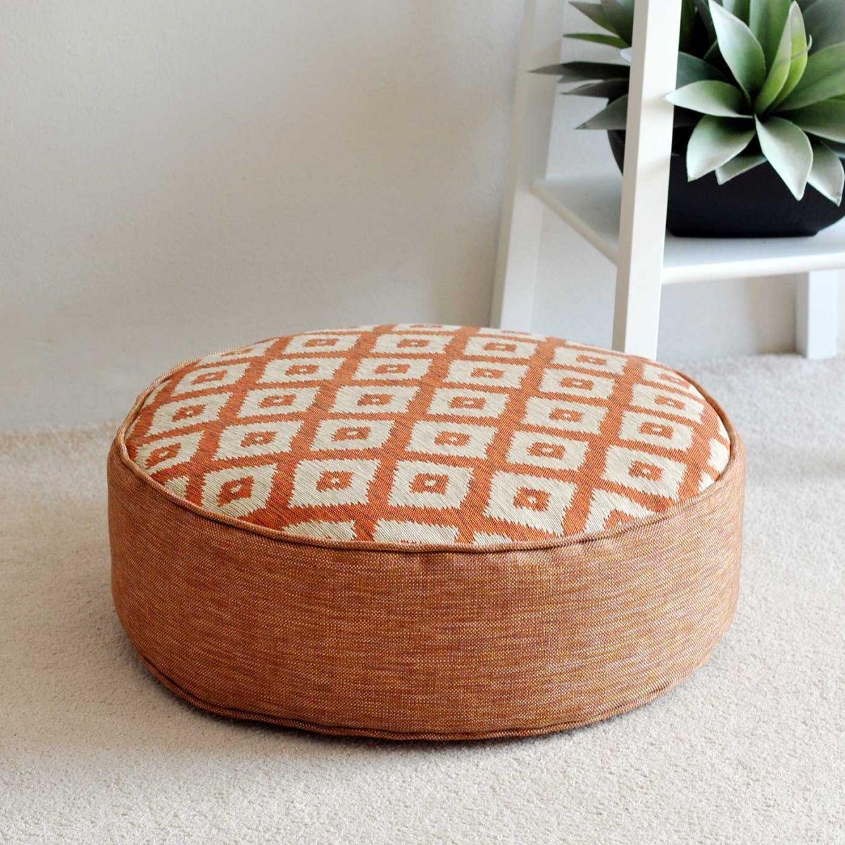 Ubud Tangerine Round Floor Cushion 18cm | Floor Cushions | Pinterest