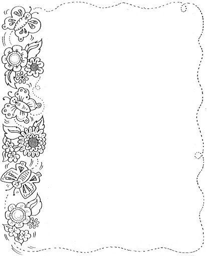 Imagenes bordes de flores para colorear