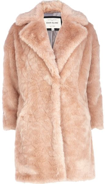 Love this: RIVER ISLAND ENGLAND Light Pink Faux Fur Oversized Coat @Lyst
