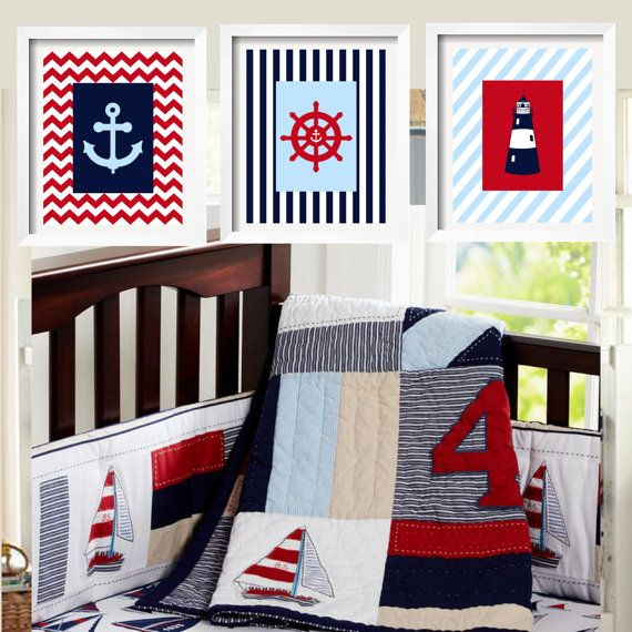 Nautical Prints in red navy and light blue 8x10 by YassisPlace, $48.00