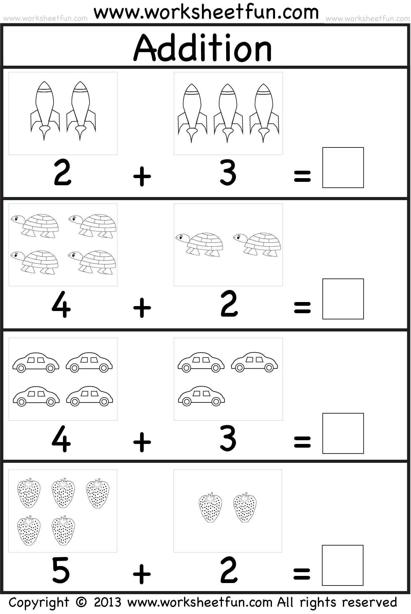 addition worksheet This site has great free worksheets for – Kindergarten Addition Worksheets with Pictures