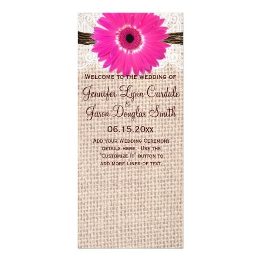 Rustic Burlap Lace Hot Pink Daisy Wedding Program.  Vertical Two Sided Wedding Program Template.  Add your own custom text.