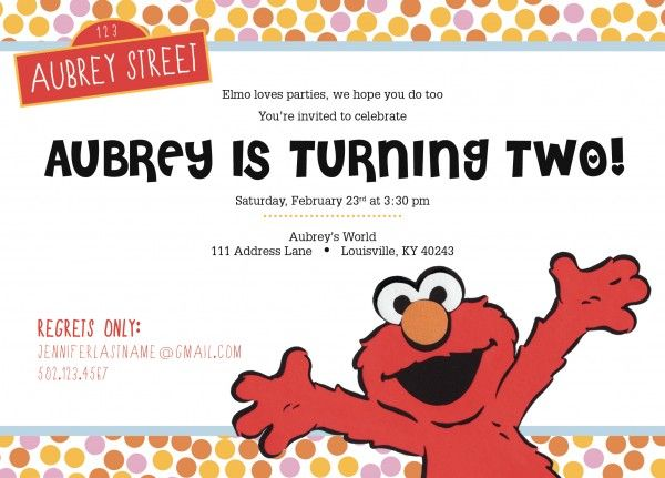 ELMO Birthday Party Invitation – Invite to Party