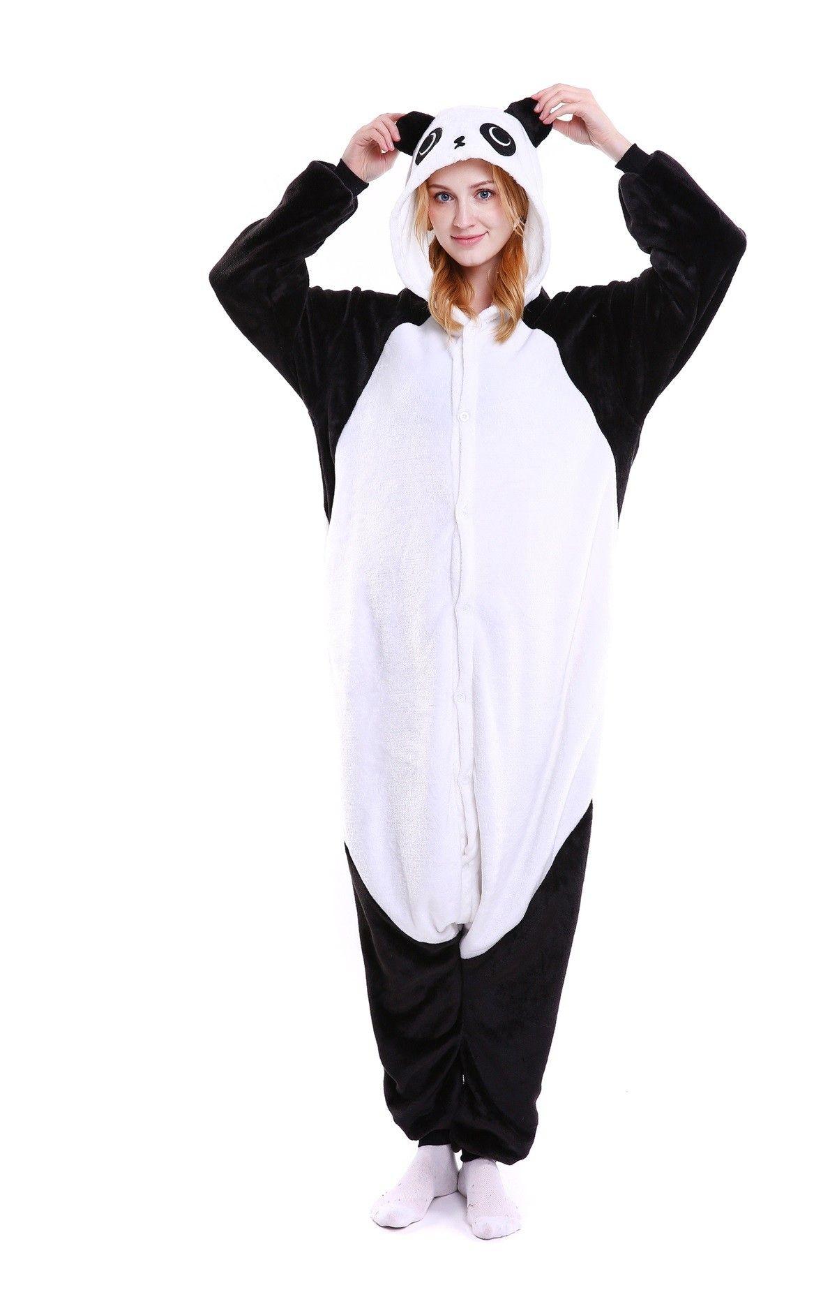 7a31ed1a38 kigurumi black white Kungfu Panda onesies animal pajamas for adults ...