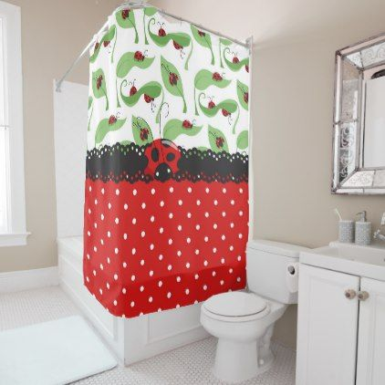 Ladybug Impression Shower Curtain Bathroom Accessories Home Living Red Shower Curtains Curtains Shower Curtain