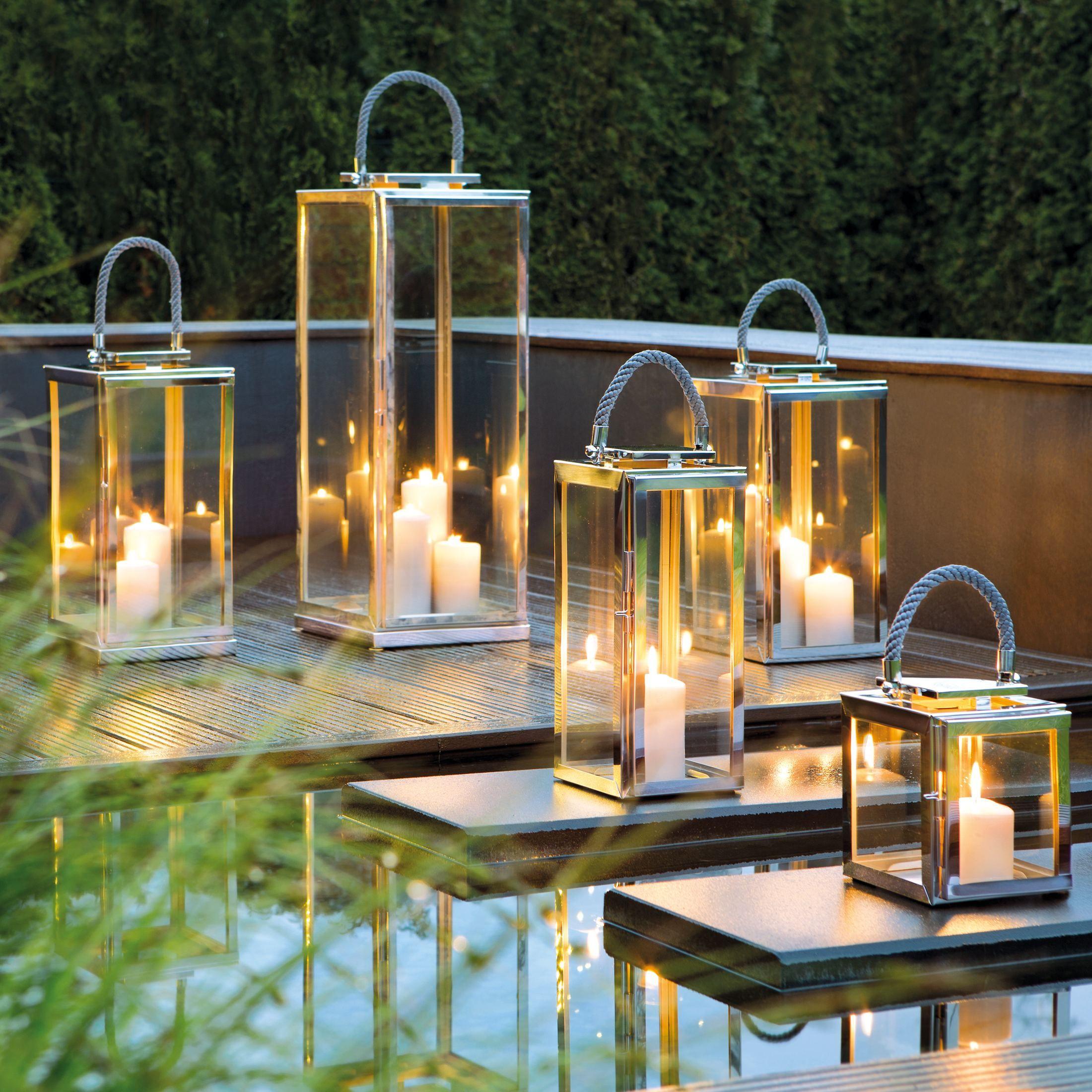 Gemutliche Outdoor Laternen Aus Edelstahl Glas Mit Tragegriff Von Fink Living Outdoor Laternen Laterne Laterne Garten