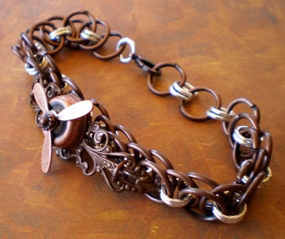 Steampunk ChainMaille Copper Bracelet by marokel on Etsy, $15.00