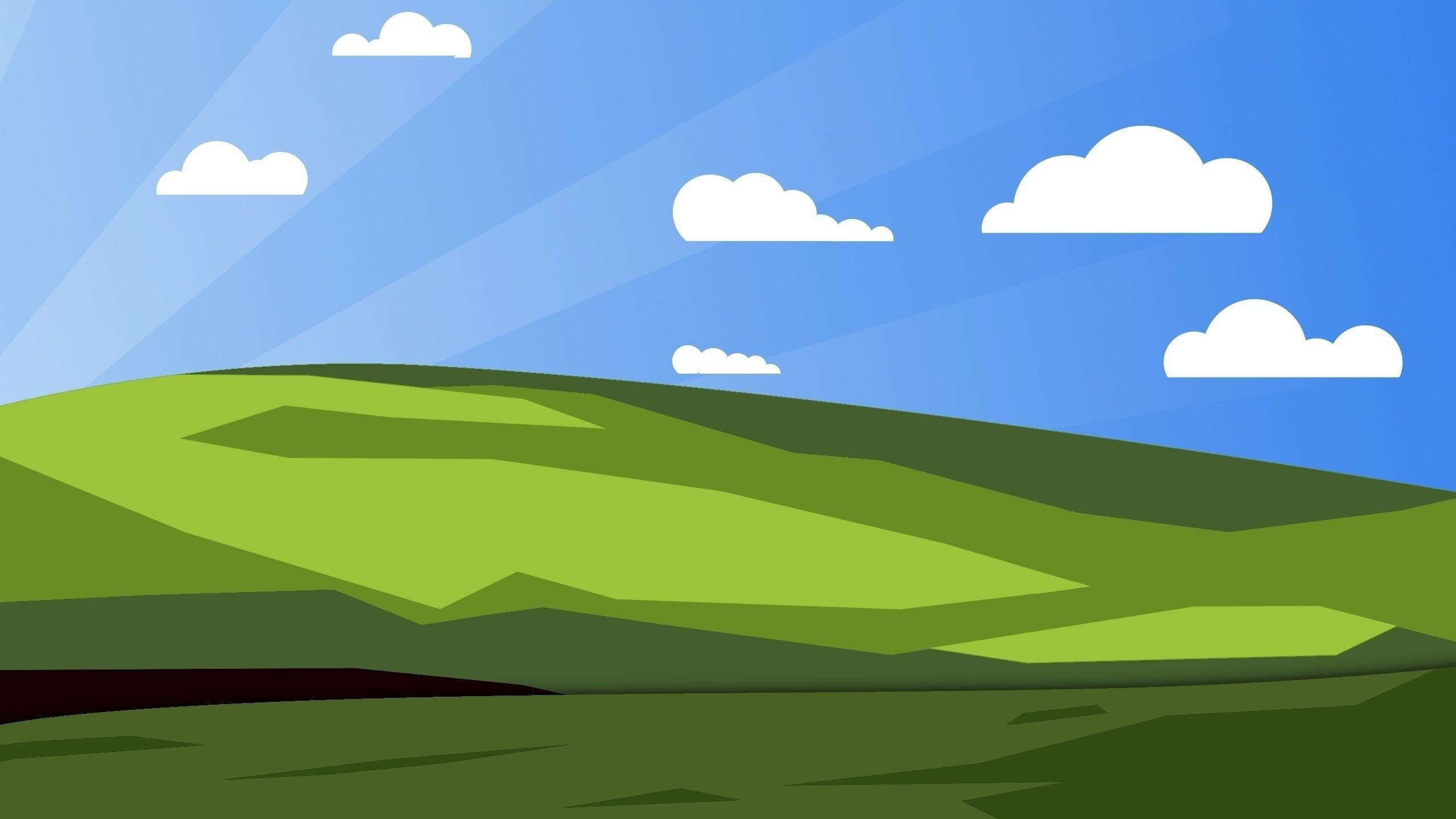 green grass under blue skies wallpaper bliss minimalism