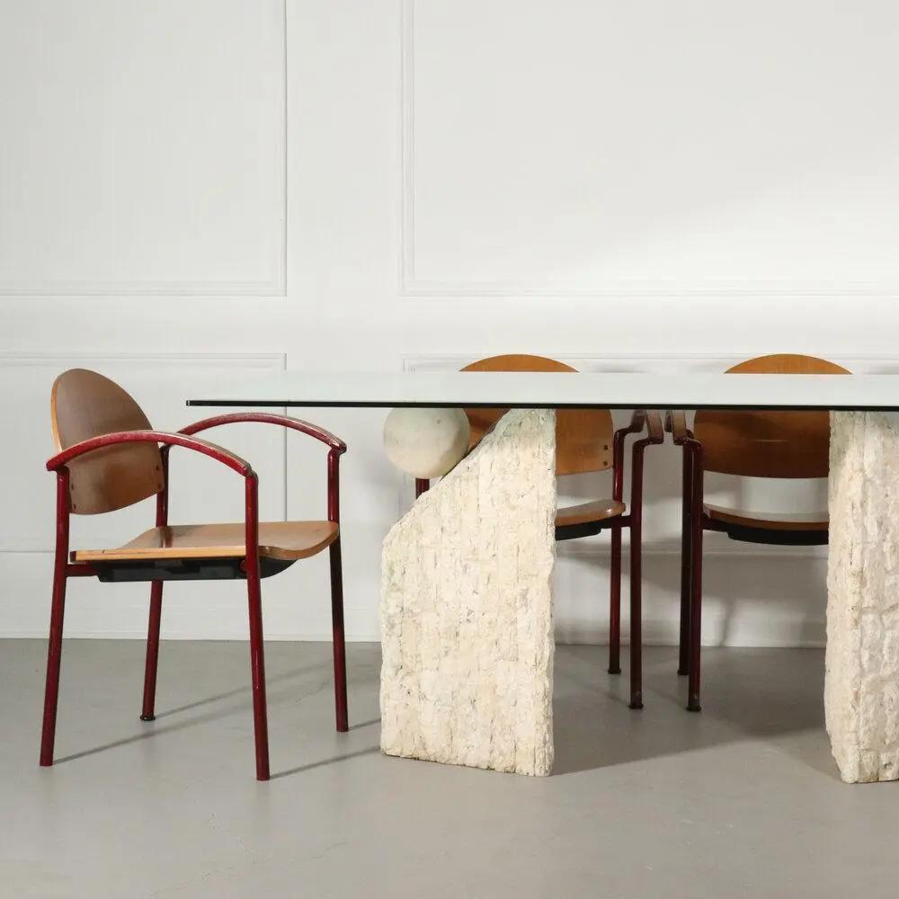 Post Modern Mactan Stone Dining Table Chairish Dining Table In Kitchen Stone Dining Table Dining Table