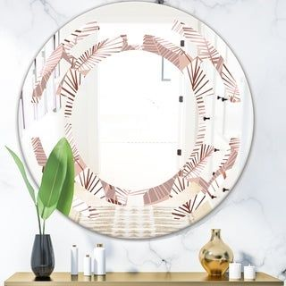 Designart 'Golden Tropical Pattern IV' Modern Round or Oval Wall Mirror - Space #tropicalpattern