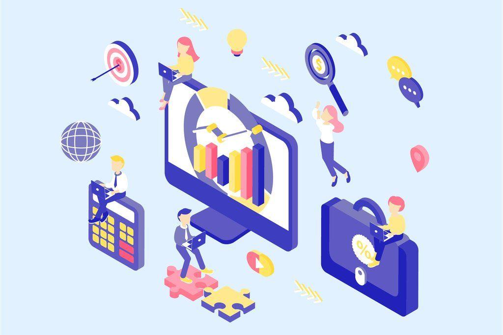 Digital Marketing Isometric Concept Digital Marketing Isometric Illustration Isometric