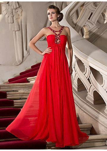 Column/ Sheath Elegant Beaded Straps Ruched Floor-length Red ...