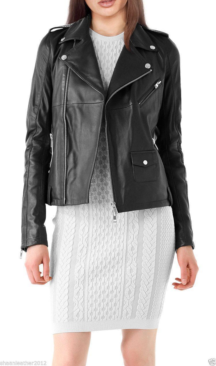 Women'S Leather Coat Jacket Genuine Lambskin Pure Leather