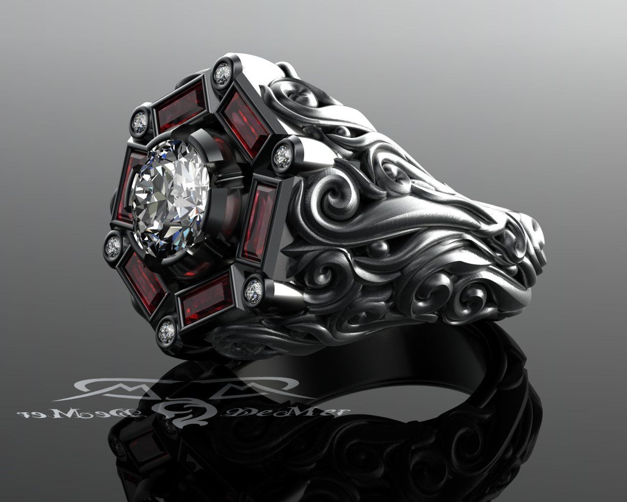 Men S 2ct Diamond 1 33ct Ruby Cocktail Or Engagement Etsy Gothic Engagement Ring Mens Jewelry Rings For Men