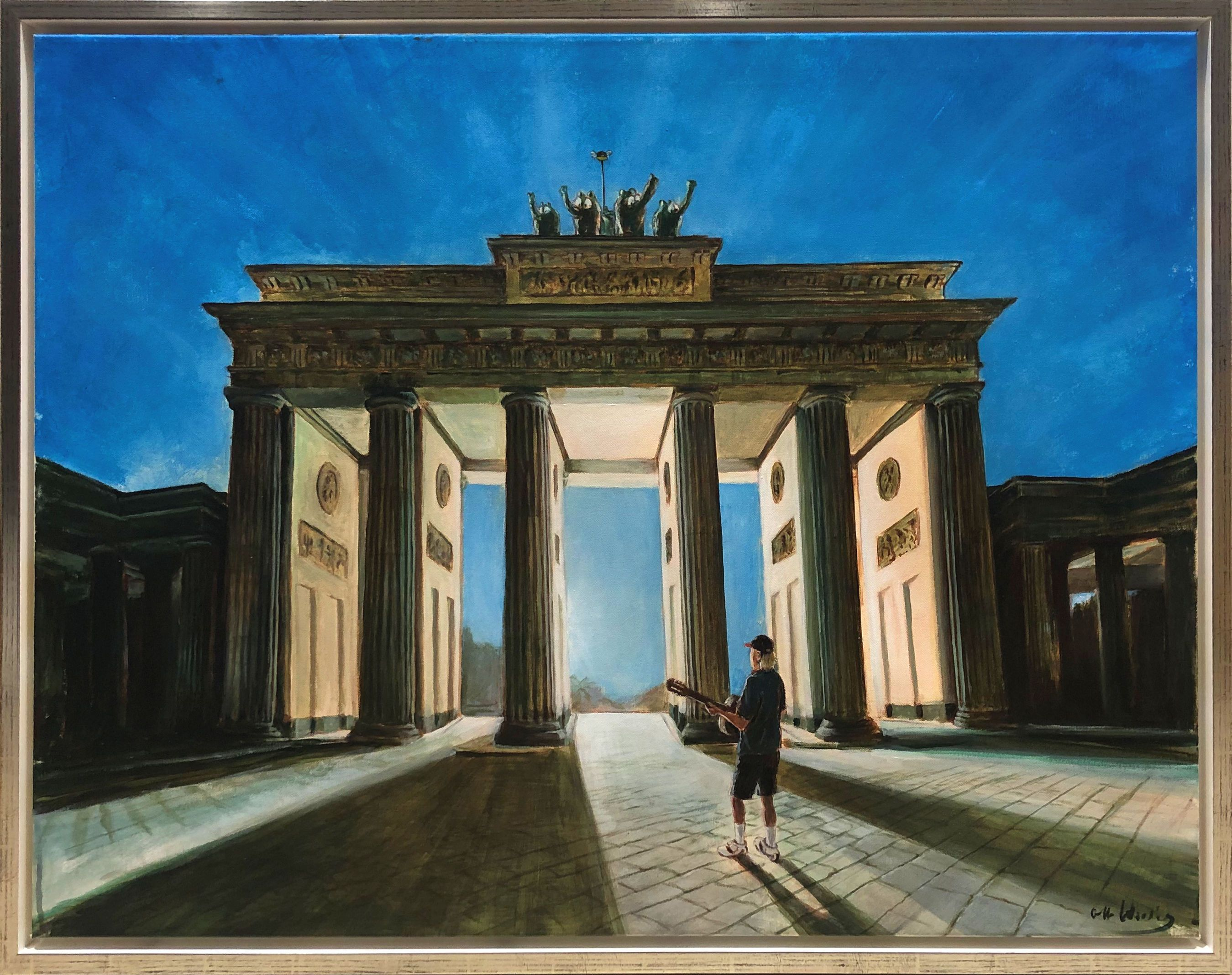 Das Otto Waalkes Gemalde One Morning In Berlin Ist Eine Hommage An Das Bekannte Sonnenaufgangsbild Von Helmut Kohl Im Rollstuhl Vor Mit Bildern Bilder Helmut Kohl Berlin