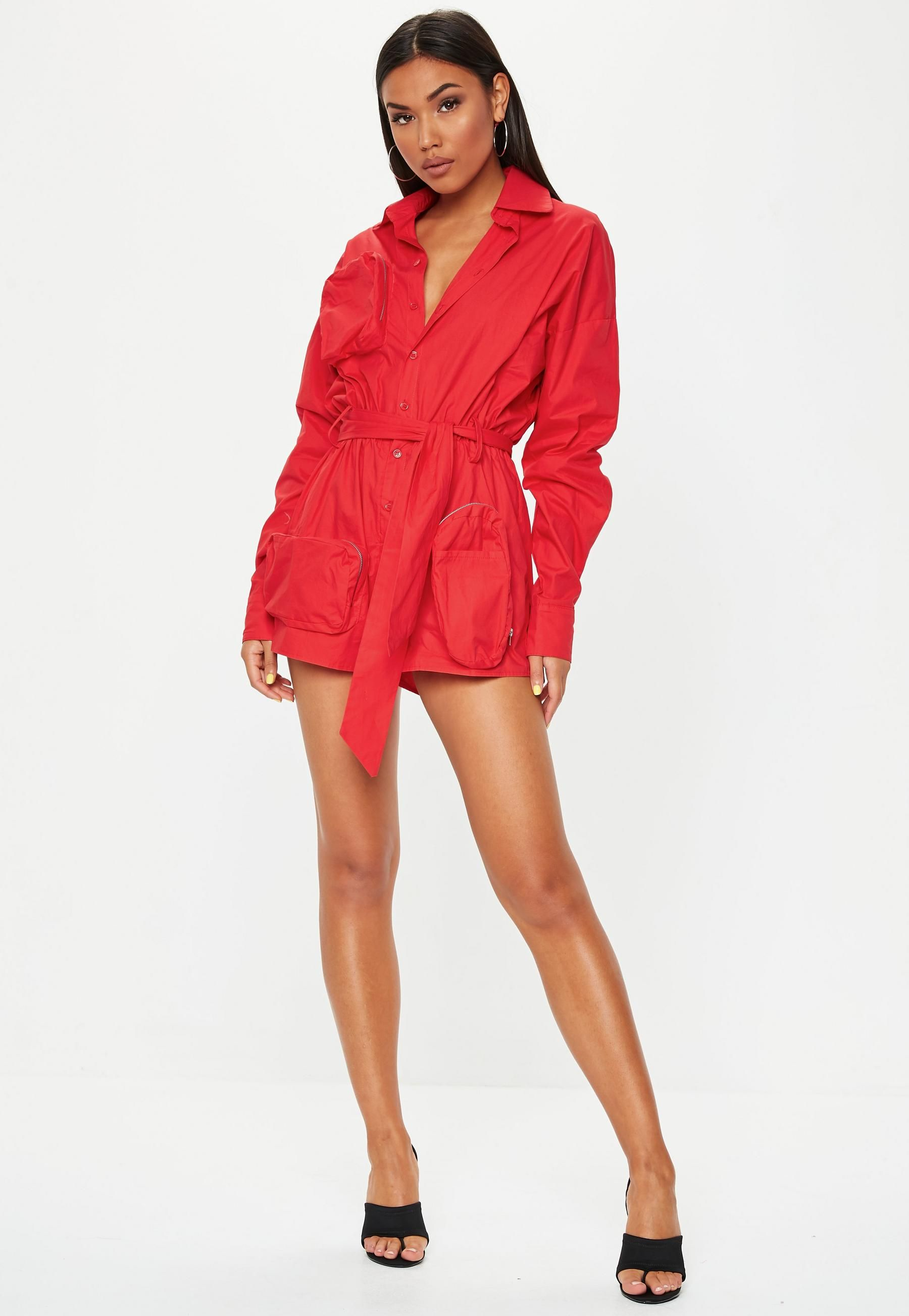 dc5ed1fc2 Red Oversized Cargo Playsuit | Missguided Australia | Ruby Biond ...