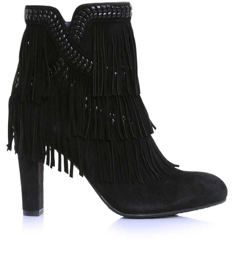 ada848eff2ac13 SAM EDELMAN New Kaleb Booties Ankle Boot Black Leather Fringe Boots 6.5 M   SamEdelman  AnkleBoots