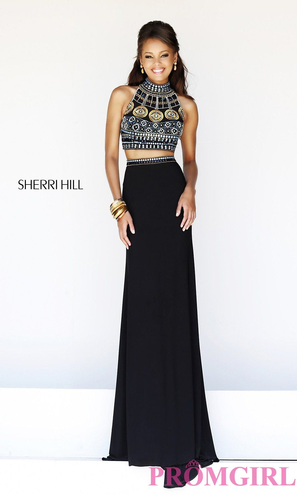 Sherri hill beaded two piece prom dress crop top gowns promgirl