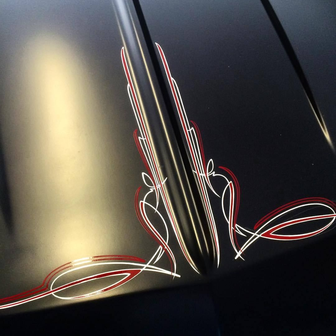 Mr Oz Designs Hood Finished Pinstriping Handstyles Pinstriping Designs Pinstripe Art Pinstriping
