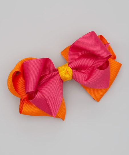 Picture Perfect Hair Bows Pink & Orange Double Bow Clip