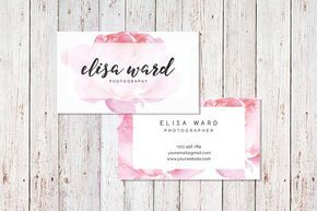 Cute Watercolor Floral Business Card Template Digital Files Pre