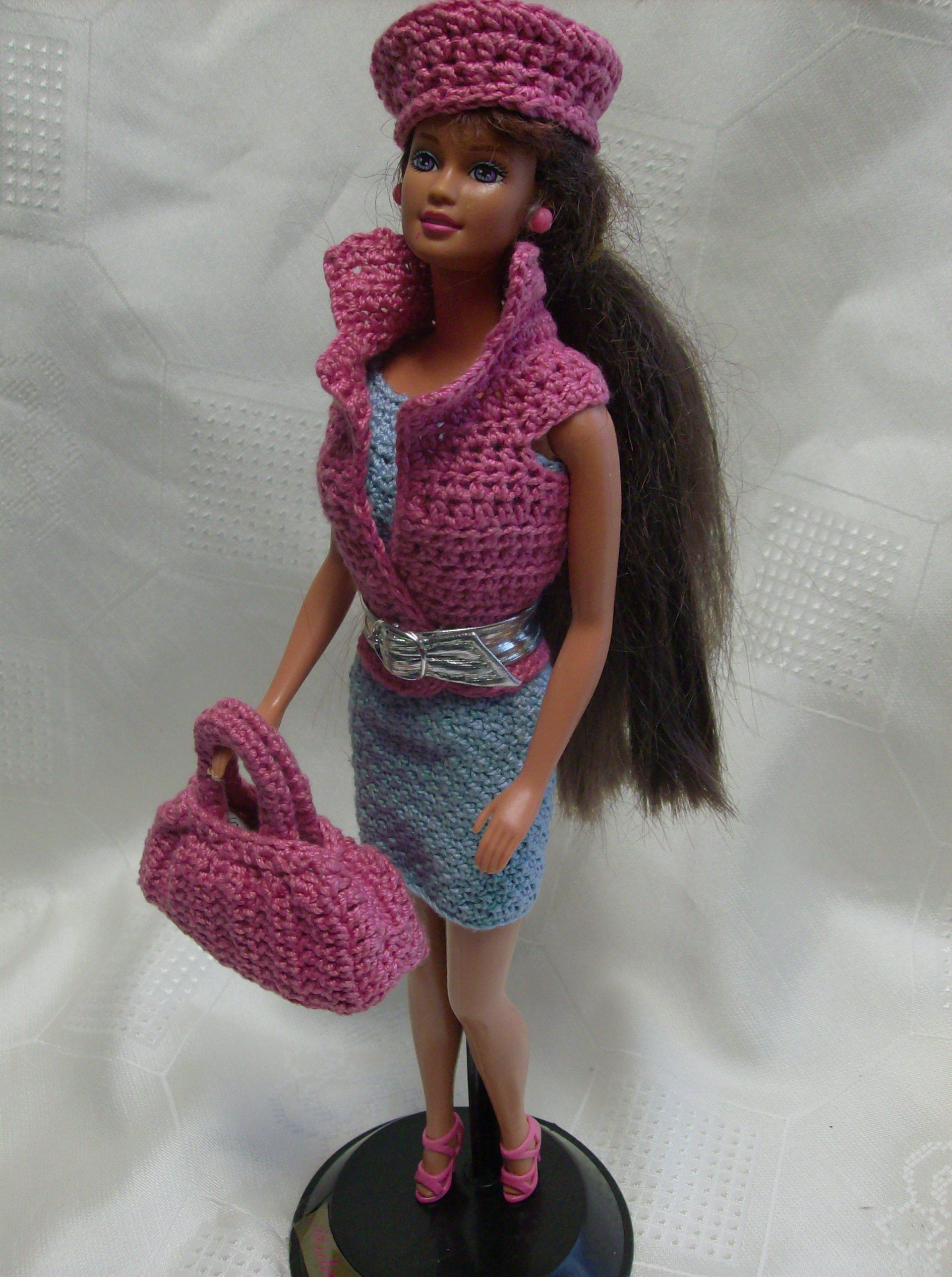 Barbie crochet cute blue spaghetti strap dress with pink vest, hat and satchel