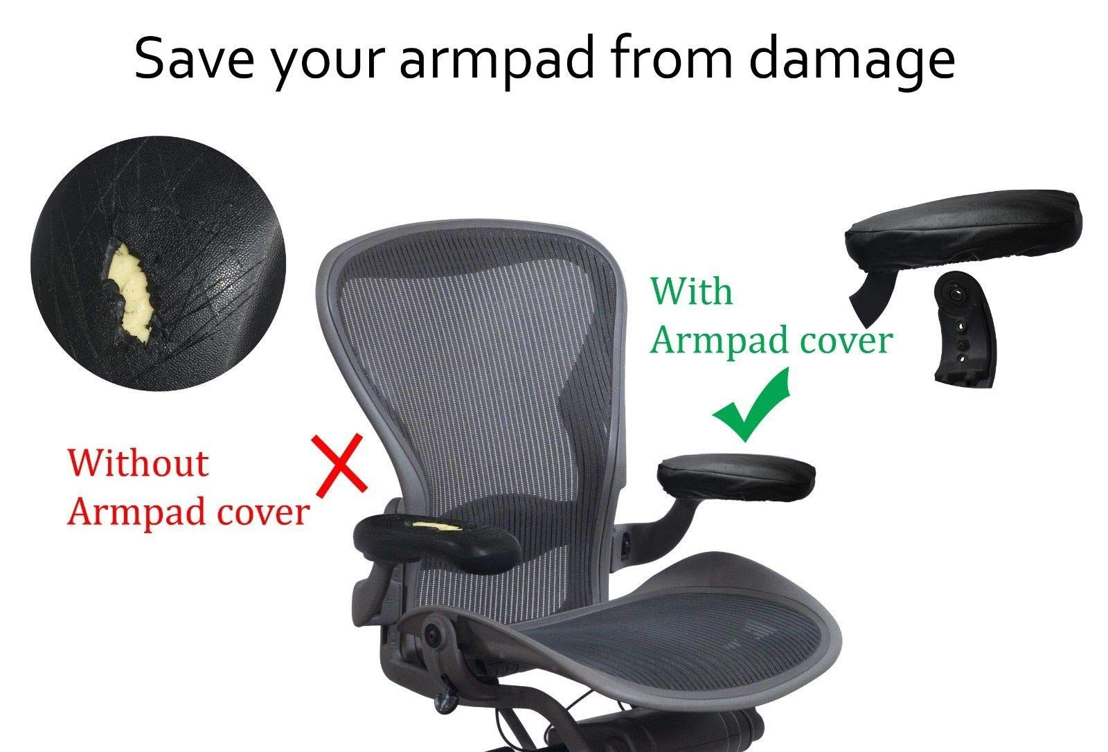 Officelogixshop Leather Arm Pad Cover For Herman Miller Aeron Chair No Need To Replace Damaged Aero Pad Cover Home Office Furniture Herman Miller Aeron Chair