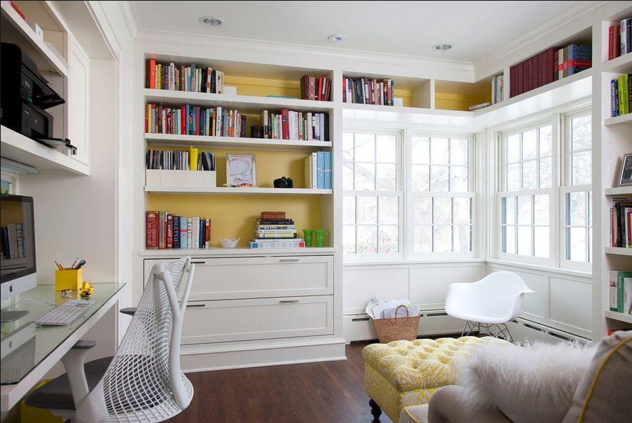 Bookcases around windows home bookshelf design