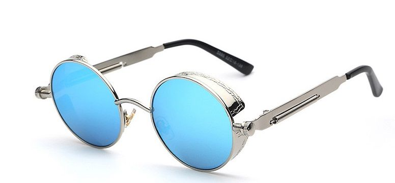 Gothic Steampunk Fashion Sunglasses. Ice Blue Mirror Lens UV400 Protection & Metal Engraved silver Frame. I.G.N.Y. Design Exclusive UNISEX Collection