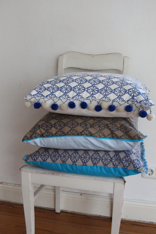 Kissenset Blau Turkis Wendekissen 50x50 Kissenbezug Kissenhullen