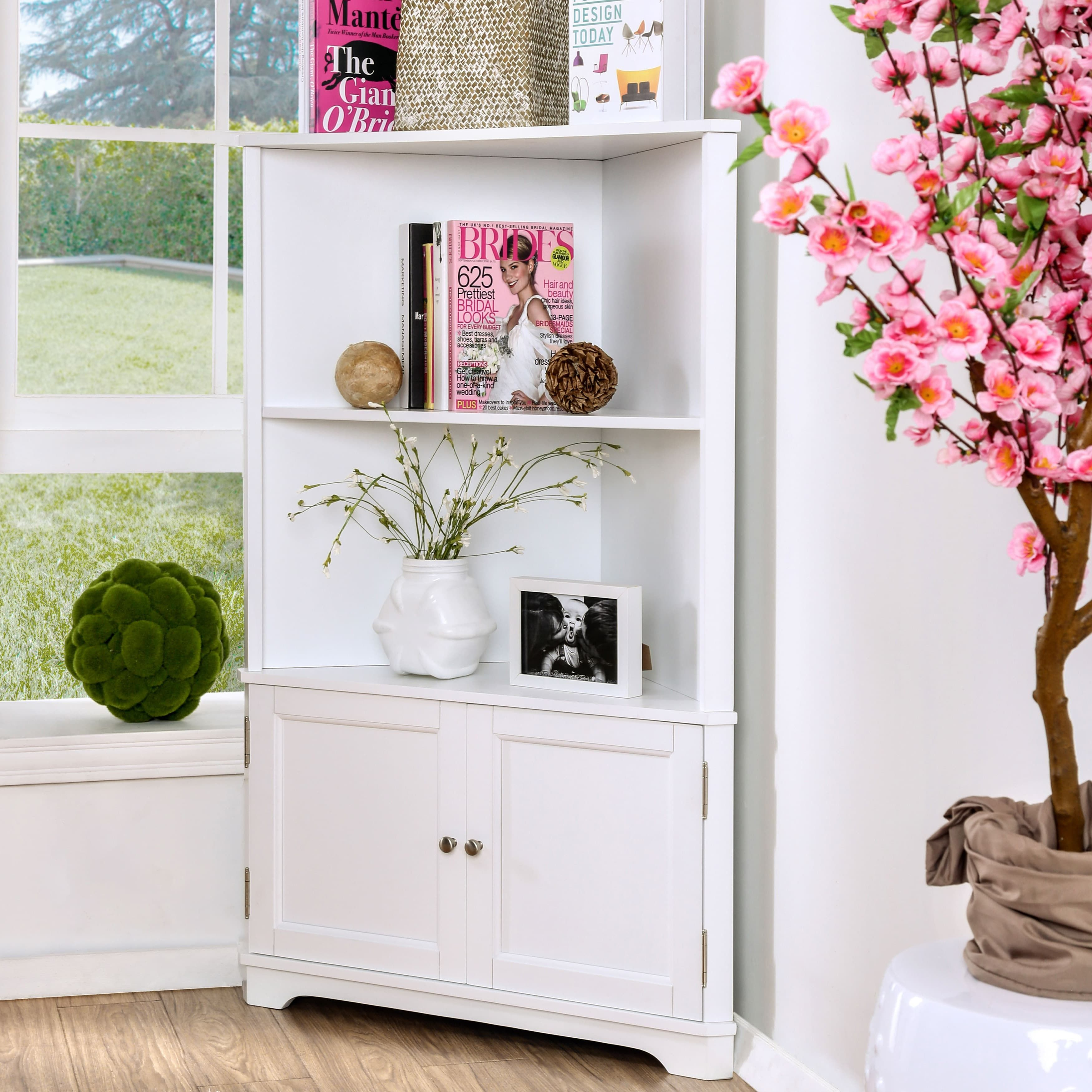 Furniture Of America Darrell Contemporary Corner 2 Shelf Bookshelf With Cabinet Espresso Black