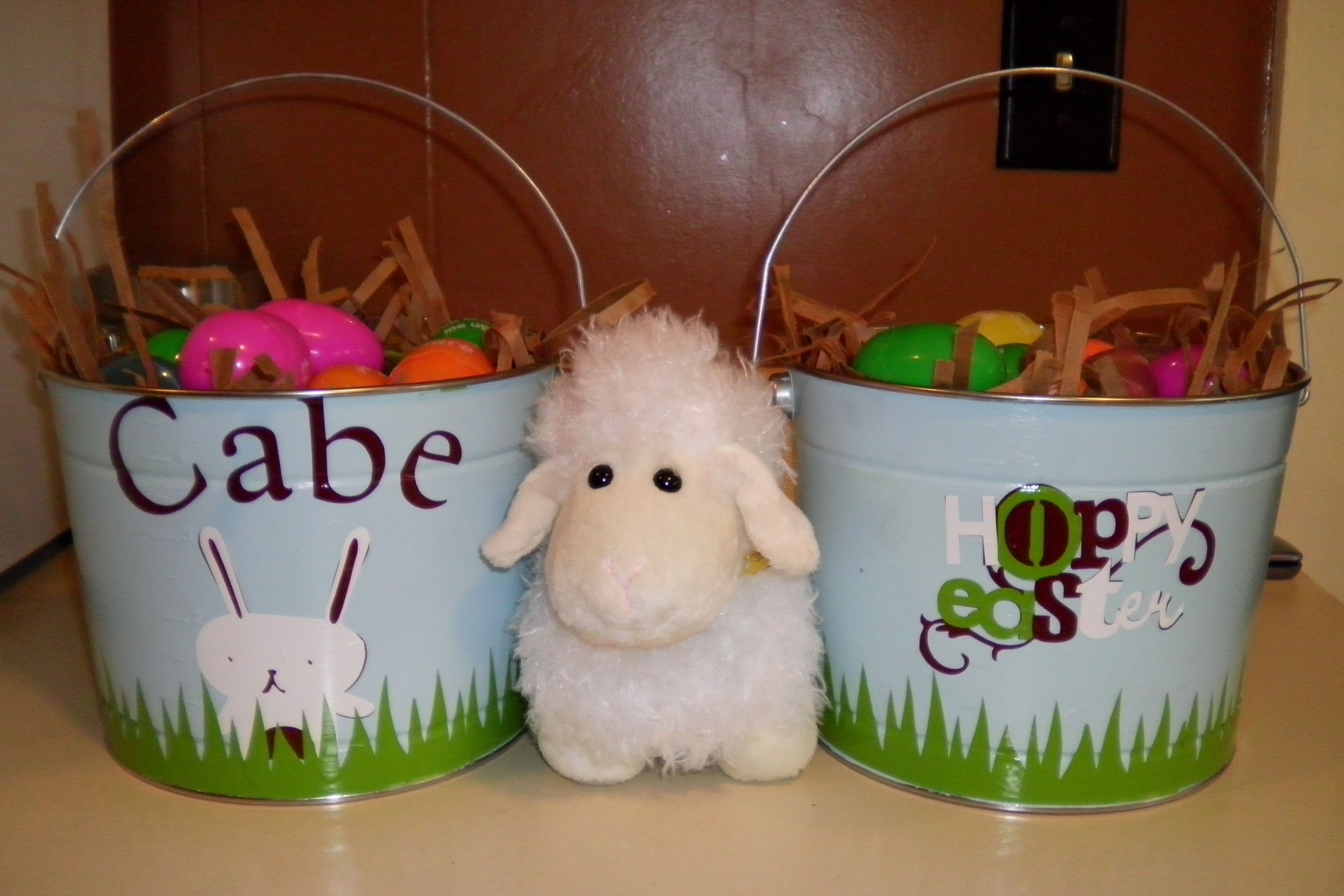 Easter buckets I made for my boys for Easter out of 5 qt. galvanized buckets. (My sis-n-law made the rabbit and Easter designs for me.)
