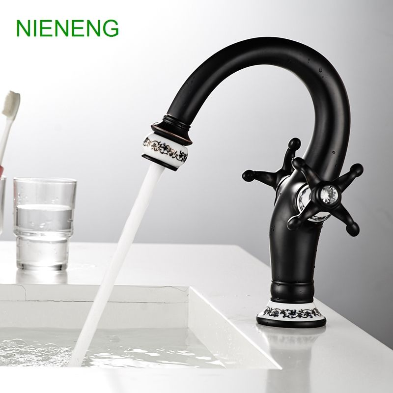 NIENENG retro lavatory taps bathroom faucet sink tap water brass ...