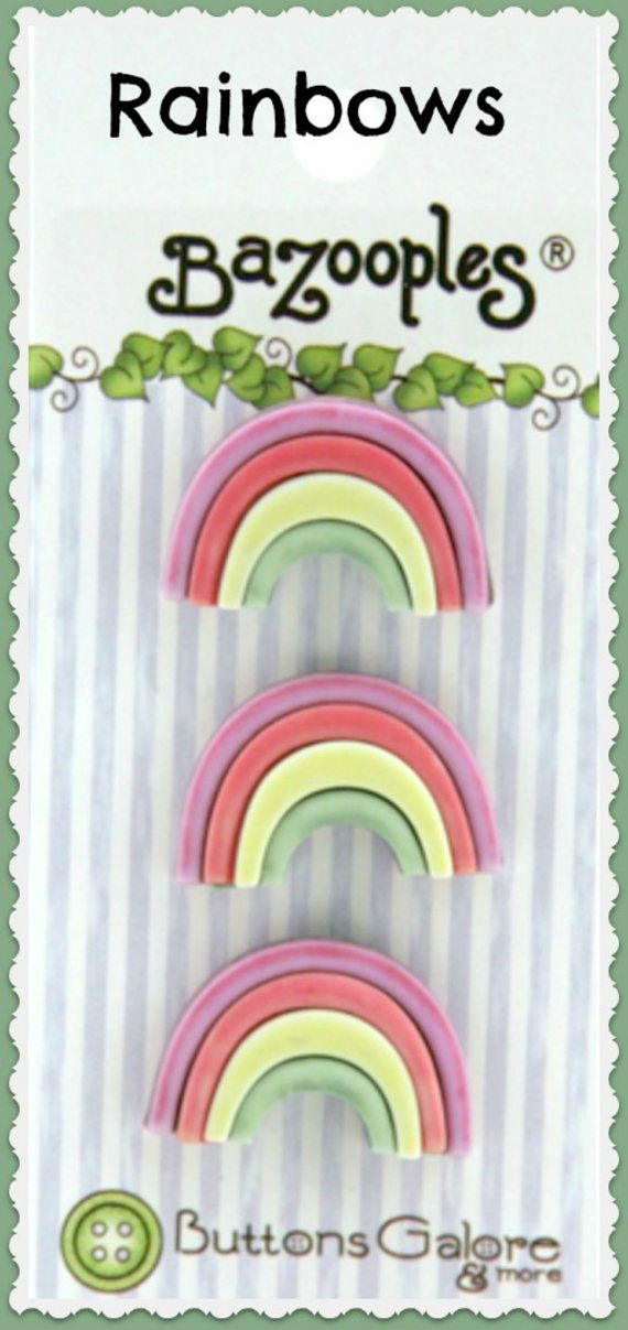 Rainbow Buttons Galore Novelty Designer Buttons 3 buttons on card by LaurelArts