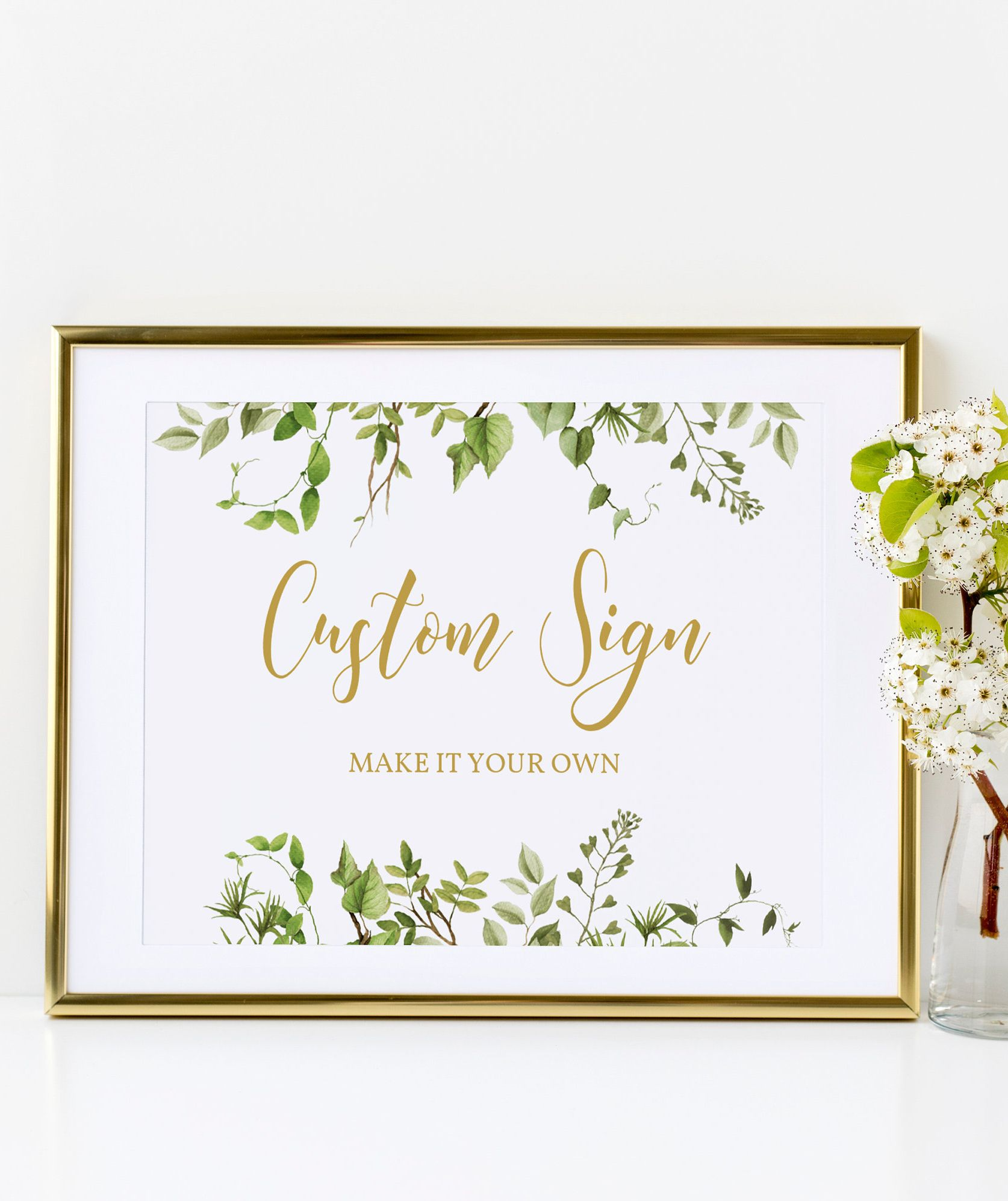 picture regarding Wedding Signs Printable known as Greenery Custom made Indications Template-Boho Marriage ceremony Signal-Greenery