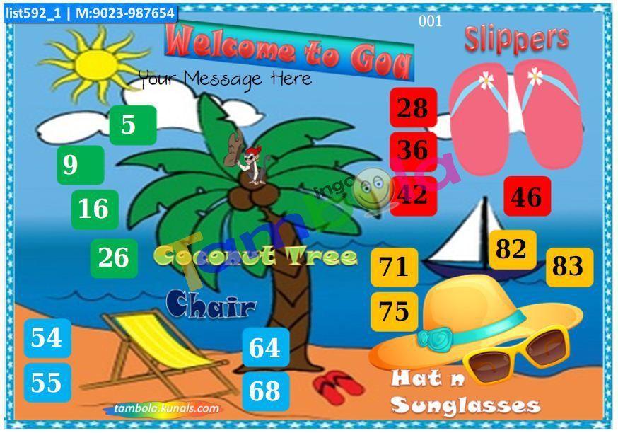 Goa Beach Anywhere 4 Tambola Housie Ticket Kitty Party Games